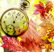fall leaves and clock