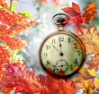 autumn background with clock