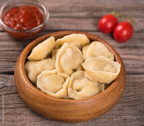 Fotobehang Restaurant Delicious boiled pelmeni