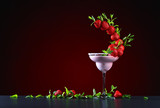 strawberry cocktail with  peppermint leaves