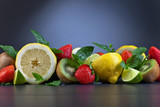 juicy fruits and peppermint leaves
