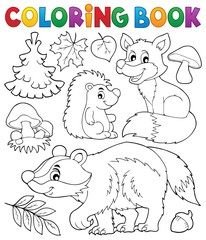 Coloring book forest wildlife theme 1