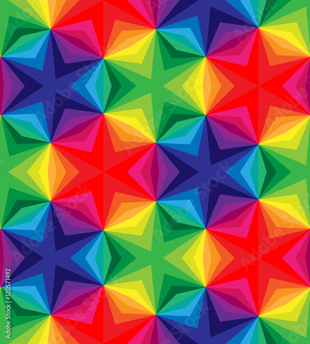 Seamless Polygonal Colorful Pattern. Geometric Abstract Background. Suitable for textile, fabric and packaging. Vector Illustration. © nofretka