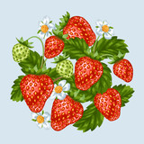 Background with red strawberries. Illustration of berries and leaves
