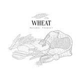 Wheat Production Still Life Hand Drawn Realistic Sketch