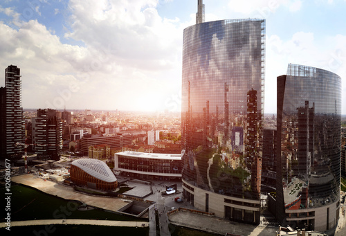 reflection of new modern district in Milan Poster