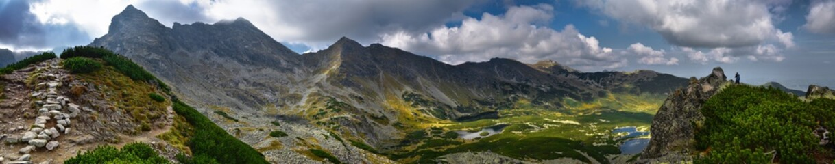 Panoramic landscape of Hala Gasienicowa in Tatra mountain