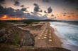Sea sunset  Panoramic sunset view with one of the most beautiful and wild beaches at the Black Sea coast and the estuary of Veleka river, Bulgaria