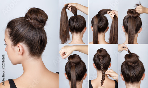 Fotobehang Kapsalon Hairstyle tutorial elegant bun with braid