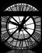 View through d'orsay museum clock tower of Sacre-Coeur Basilica
