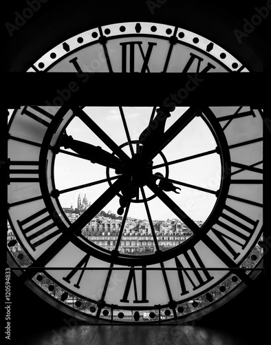 View through d'orsay museum clock tower of Sacre-Coeur Basilica Poster