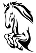 Horse jump black and white vector design