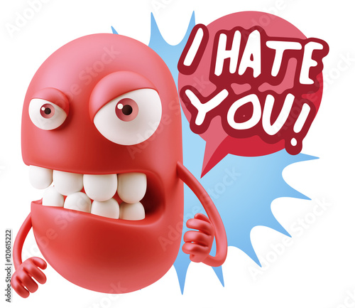 Staande foto Stierenvechten 3d Rendering Angry Character Emoji saying I Hate you with Colorf