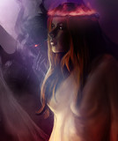 Woman possessed by devil. Illustration of a pretty woman possessed by whispering devil angel by her side with neon crown of thorns.