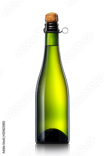 Bottle of beer, cider or champagne with clipping path isolated on white backgrou Poster