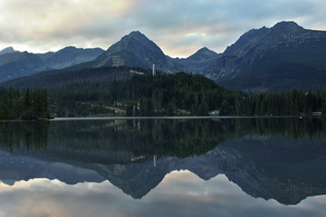 Reflection mountain in lake. © denisapro