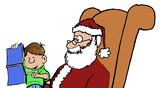 Christmas illustration of little boy sitting on Santa