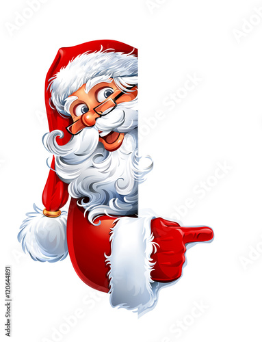 Vector illustration of cartoon Santa Claus character showing a blank sign. You can easily adjust size and color of copy space.