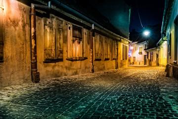 Dark deserted alley by night, in Sibiu, Romania (hollywood effect processing) © mandritoiu