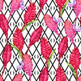 Seamless floral tropical pattern. Hand painted watercolor exotic bromelia flowers on black and white geometric ornament background. Textile design.