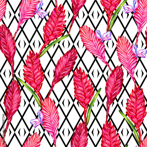 Seamless floral tropical pattern. Hand painted watercolor exotic bromelia flowers on black and white geometric ornament background. Textile design. - 120647246