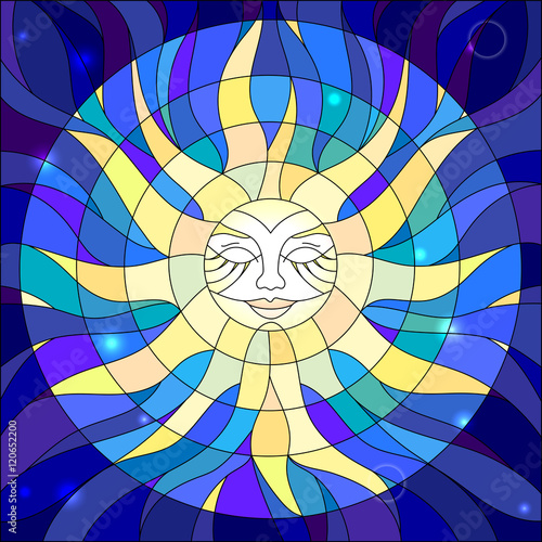 Naklejka Illustration in the style of a stained glass window abstract star