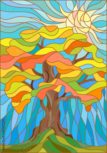 Naklejka Illustration in stained glass style with autumn tree on sky background and sun