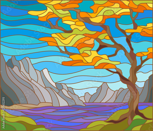 Naklejka Illustration in stained glass style landscape with a lonely tree on a background of mountains, water and sky