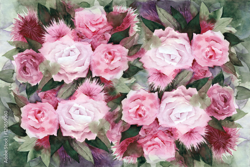 Obraz Watercolor painting. Background with pink roses and green leaves.