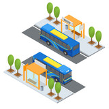 Bus Station and Public Transportation. Vector