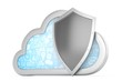 cloud and shield, cloud security concept. 3d rendering.