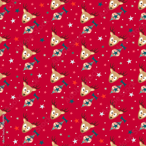 Materiał do szycia Red Merry Christmas Seamless Pattern Background with Cute Deers, Christmas Tree Toys and Stars. Cute New Years Xmas Gift Wrapping Paper