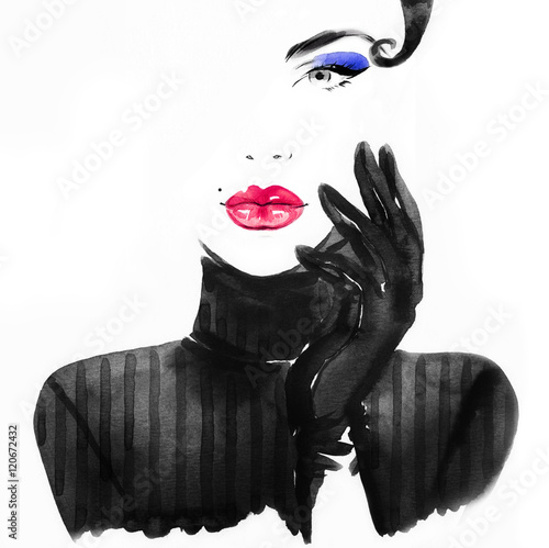Fotobehang Anna I. Style woman portrait. Abstract fashion watercolor illustration