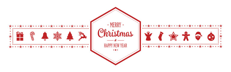 merry christmas hexagon ornament banner red isolated background