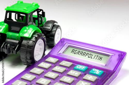 Poster Traktor, Taschenrechner und Agrarpolitik der EU