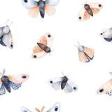 Butterflies and moths on white texture. Handpainted watercolor seamless background. Perfect for you unique creation,print,wallpaper,gift paper,greeting card,invitations etc