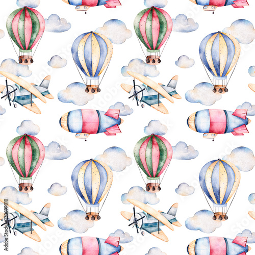 Seamless pattern with air balloons,airship,clouds and the plane in pastel colors.Watercolor air ballons beautifully decorated on white background and other aircrafts.Perfect for wallpaper - 120699010