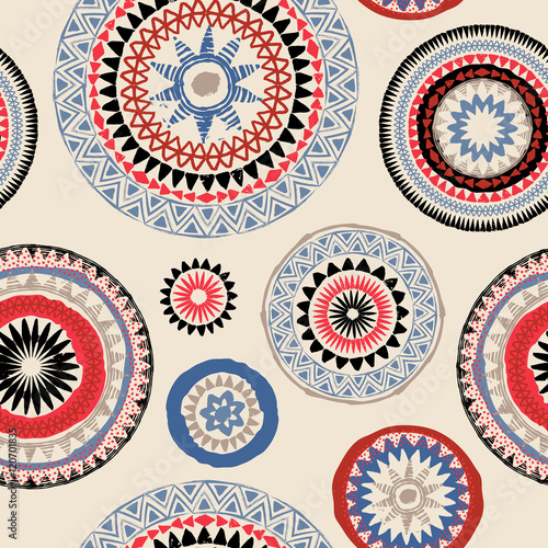 Cotton fabric Mandala. Abstract round ornament seamless vector pattern. Tribal grunge texture