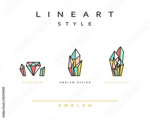 Kryształowy diament wektor ikona stylu grafiki liniowej. Monogram godło element projekt styl lineart.