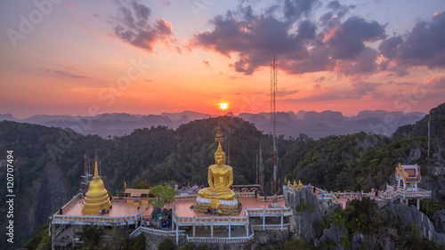 Poster Oceanië aerial photography while sunset the highest big Buddha on hilltop southern of Thailand