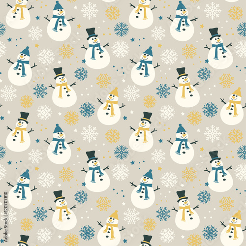 Materiał do szycia Snowflakes and snow - seamless pattern, vector