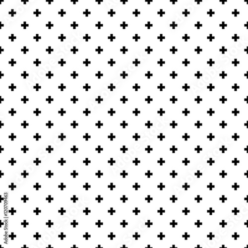 Monochrome, black and white abstract crosses seamless pattern background. - 120709463
