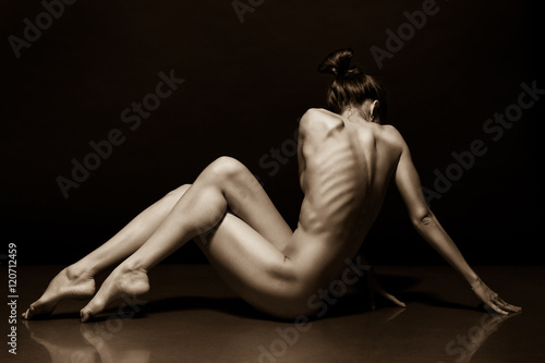 Plagát Art photo of sexy nude woman black and white