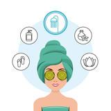 beauty spa set flat icons vector illustration design