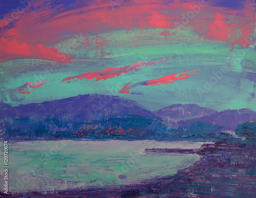 Art painting of sunset over St Tropez © denys_kuvaiev