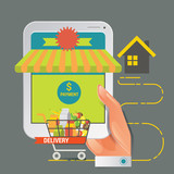 Colorful vector illustration concept for online ordering of food. Vector illustration concept for grocery delivery.