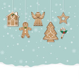 Gingerbread Christmas Cookies on snow background