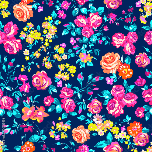 Cotton fabric Neon bright rose garden - seamless vector pattern