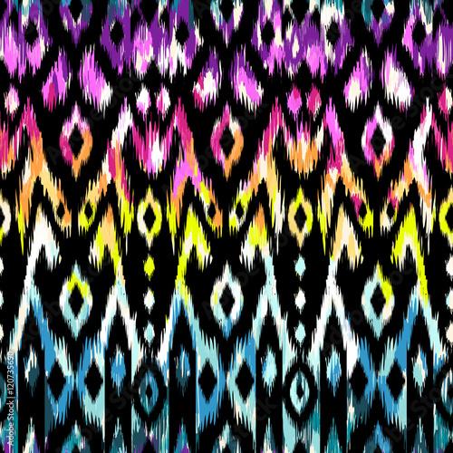 Cotton fabric rainbow ikat pattern design - seamless background