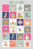 Christmas advent calendar with hand drawing elements. Isolated v